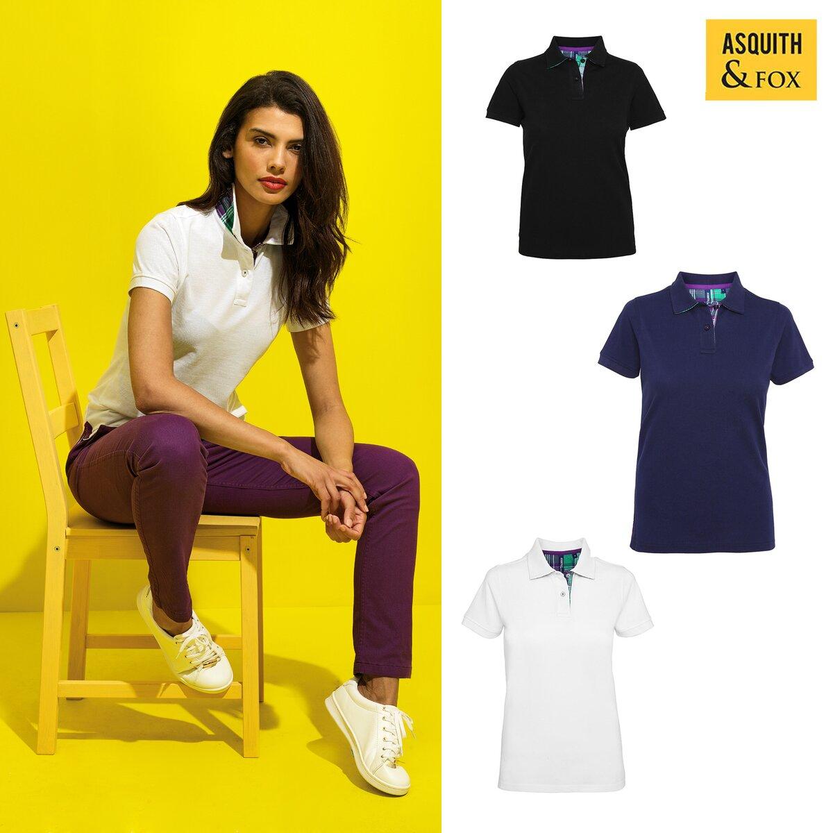 Womens Polo Shirt Women/'s Check Trim Polo Shirt Casual Top AQ024