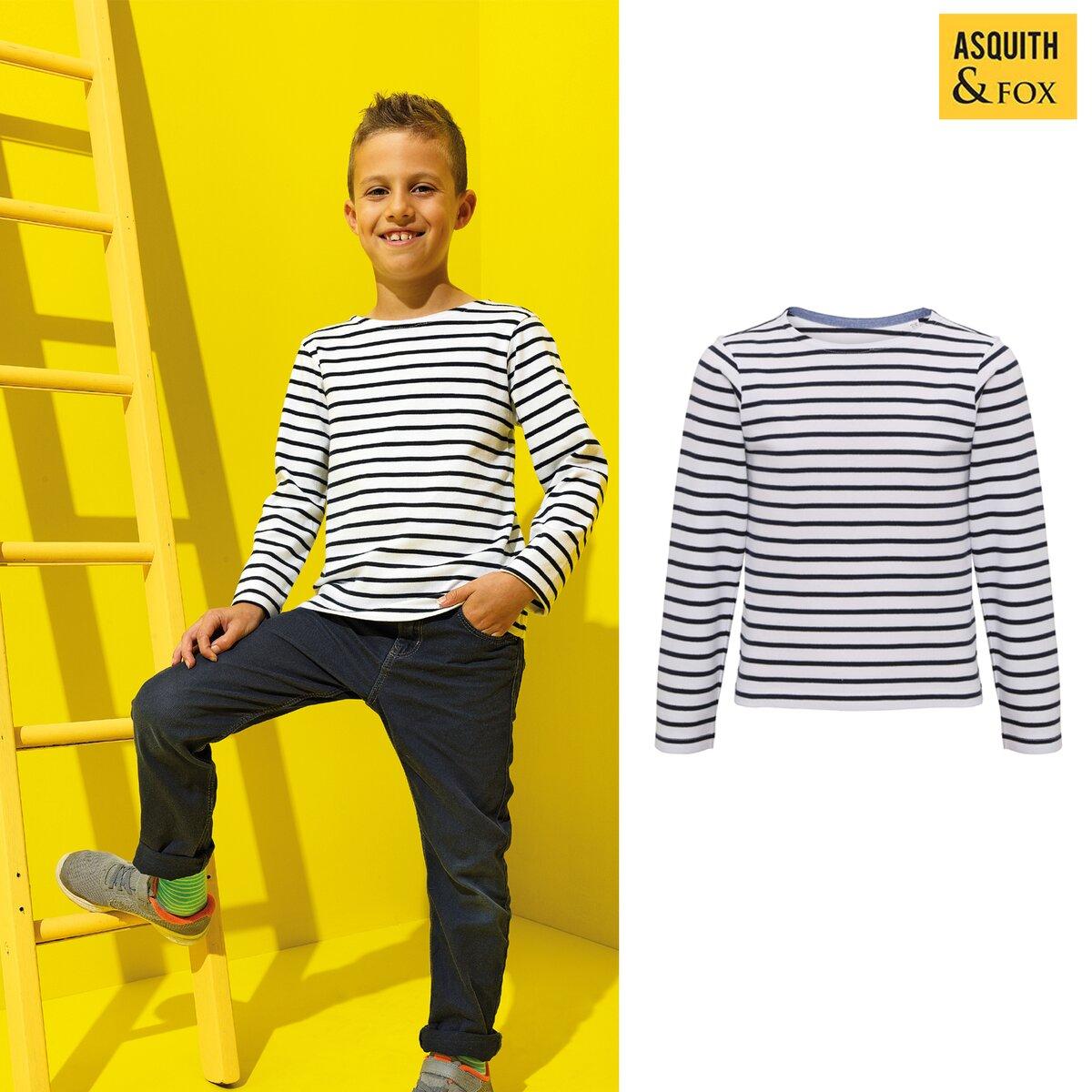 Asquith /& Fox Kids Mariniere Coastal Long Sleeve Tee Boys//girls striped T-shirt
