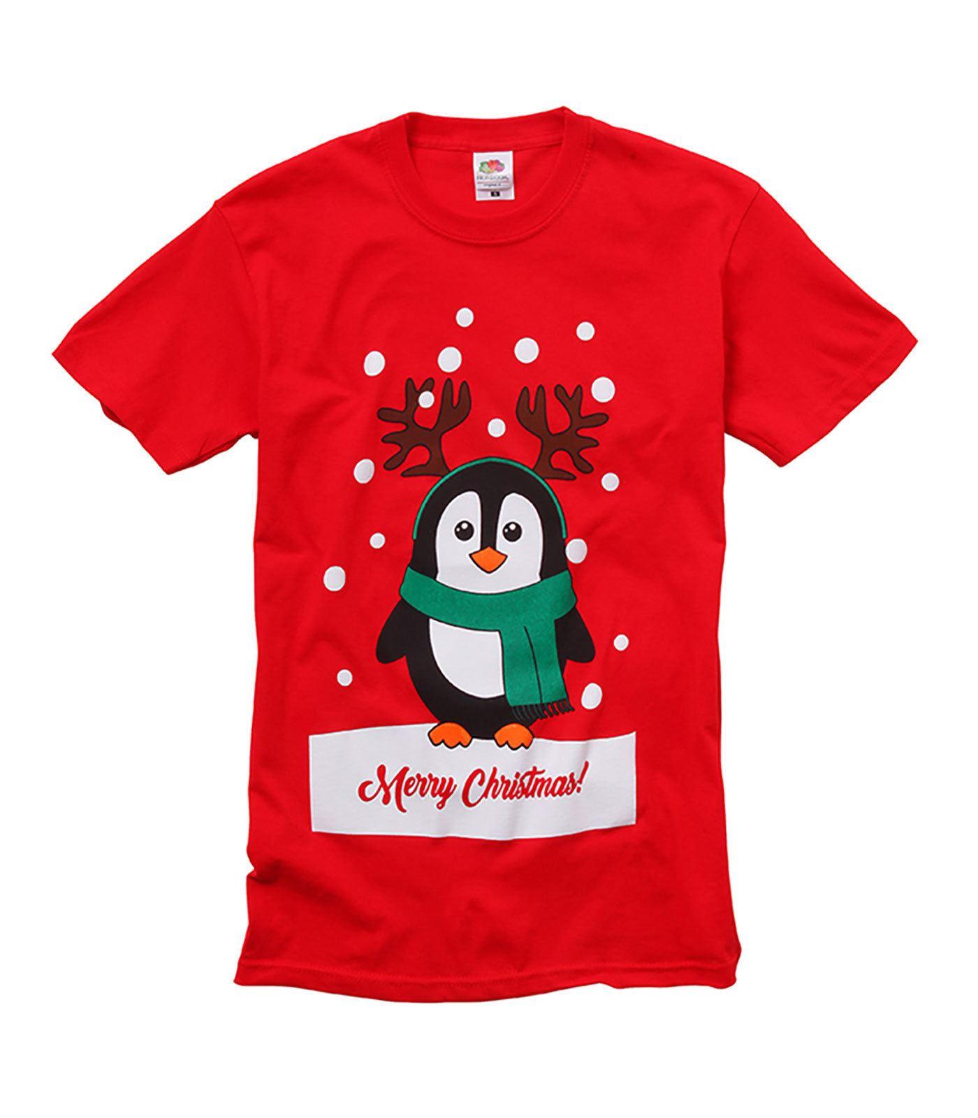 Christmas T-shirts Bah Humbug Reindeer red Black XMAS Tee Penguin Santa
