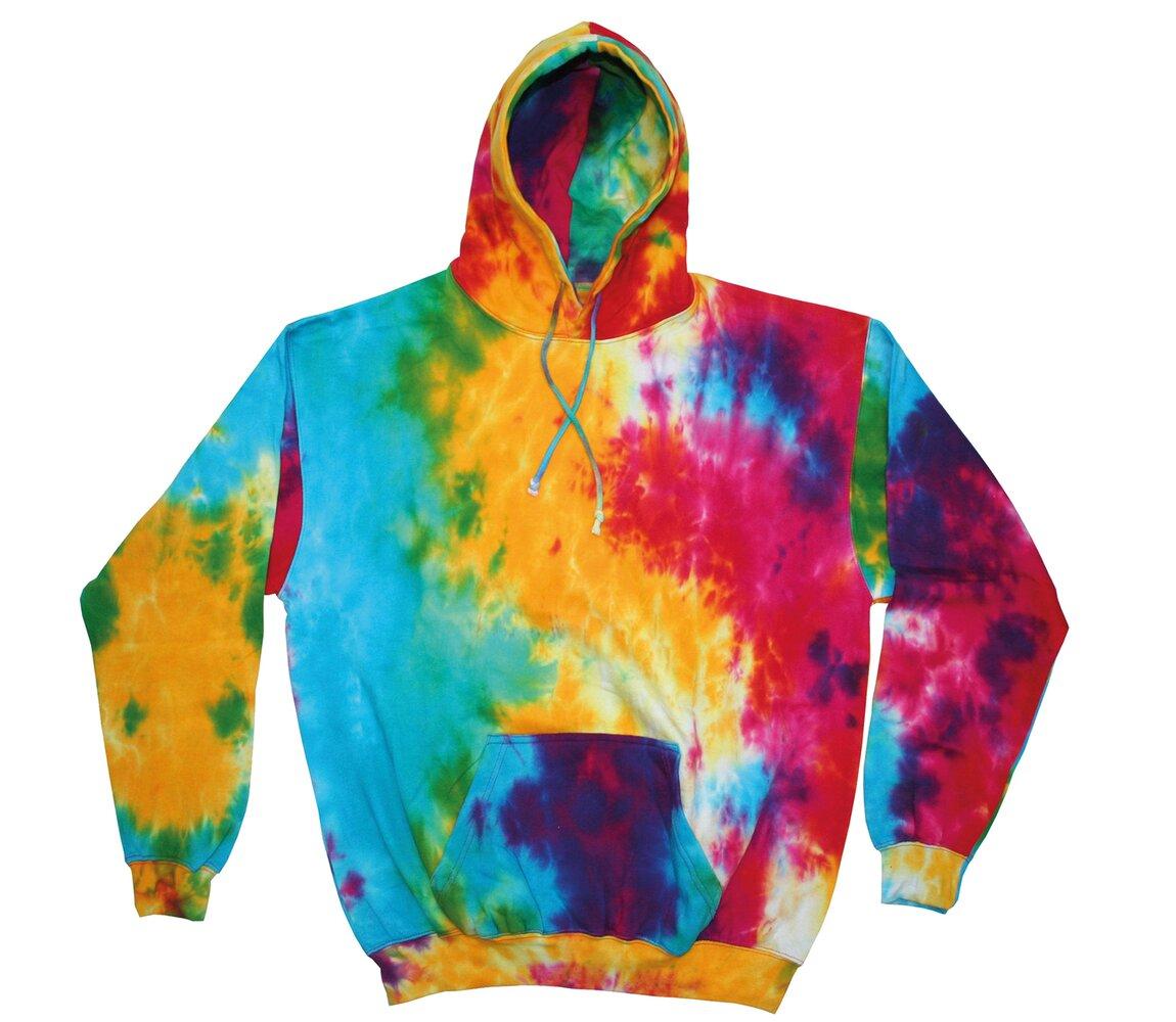 Colortone Rainbow Tie-Dye Unisex Hoodie TD31M-Long Sleeve Warm Hooded Sweatshirt