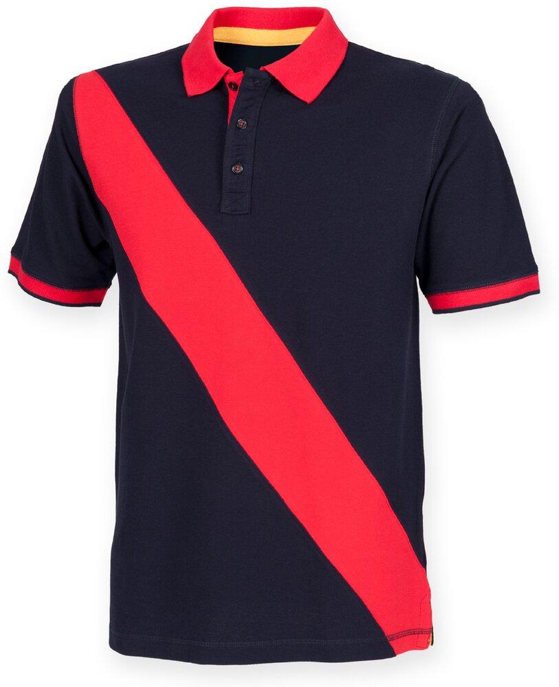 Front-Row-Diagonal-Stripe-Pique-Tag-gratuit-Polo-FR212-Tag-libre-Shirt miniature 6
