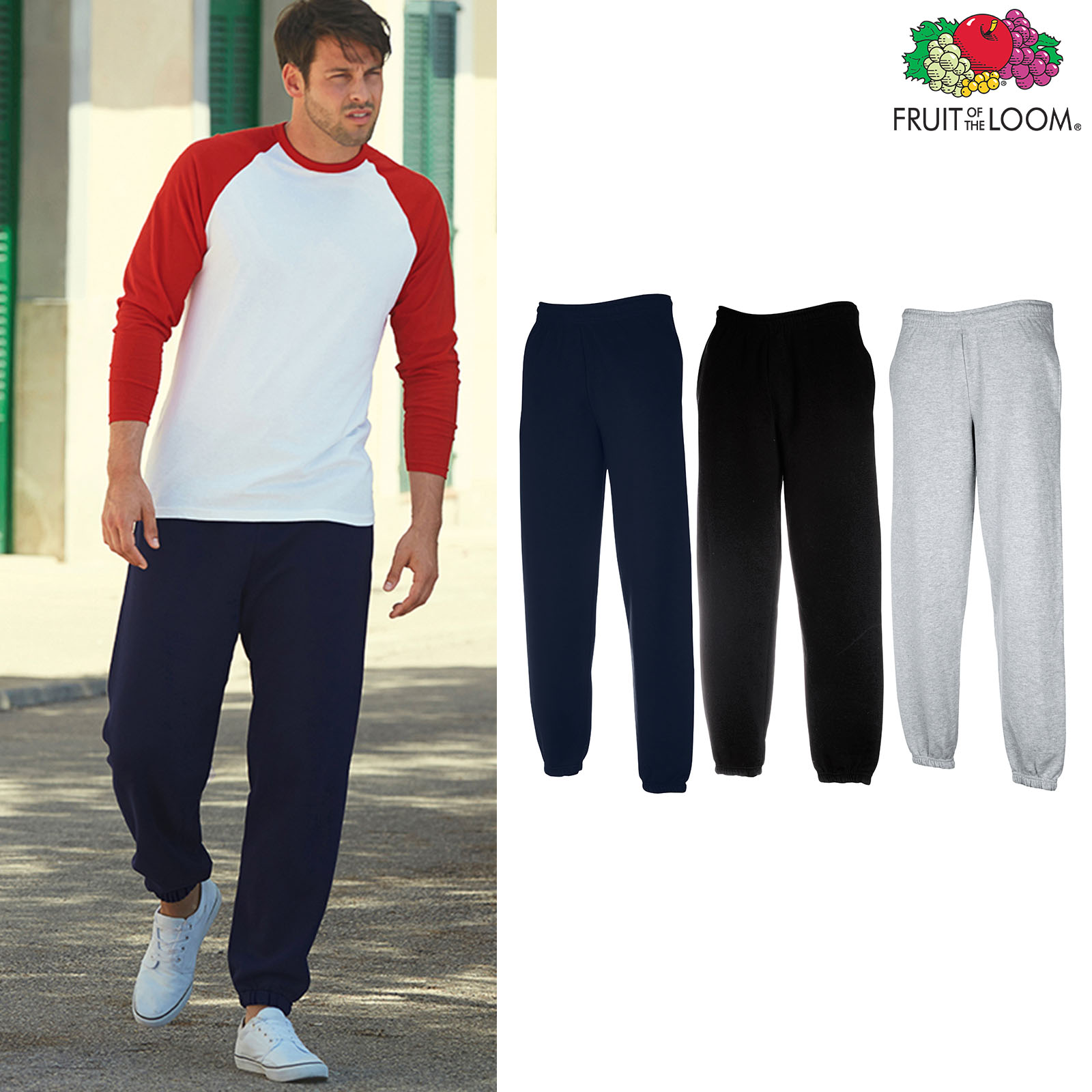 Activewear Bottoms Fruit Of The Loom Mens Classic Elasticated Cuffs Jog Pants Pockets Sweat Bottoms Clothing, Shoes & Accessories