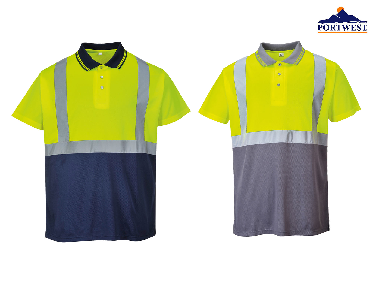 Hi Viz Portwest S479 Two Tone Wicking Breathable Polo Shirt Orange Yellow